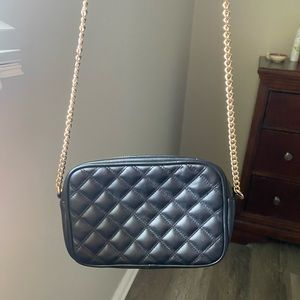 Black Quilted crossbody with gold chain